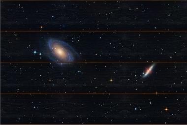 Galaxie M81 a M82 A - 40x60 - dřevo