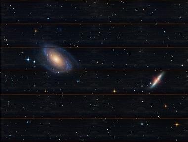 Galaxie M81 a M82 A - 60x80 - dřevo