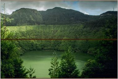 Jezero, Azorské ostrovy A - 20x30 - dřevo