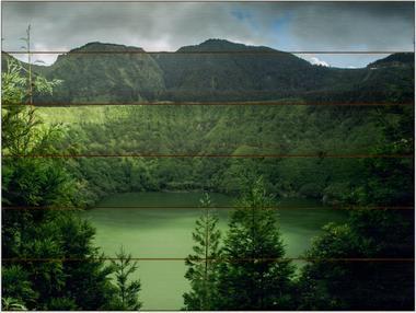 Jezero, Azorské ostrovy A - 60x80 - dřevo