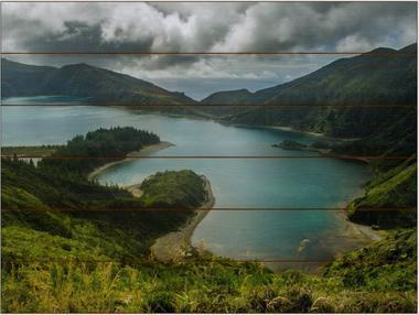 Lagoa do Fogo A - 60x80 - dřevo