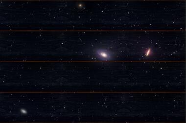 Skupina galaxií M81 A - 40x60 - dřevo
