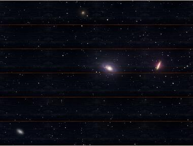 Skupina galaxií M81 A - 60x80 - dřevo