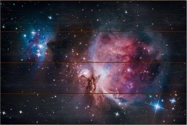 Velká mlhovina v Orionu A - 40x60 - dřevo