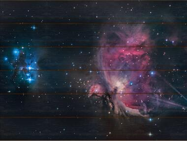 Velká mlhovina v Orionu A - 60x80 - dřevo