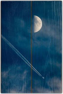 Měsíc a letadlo A - 20x30 - dřevo