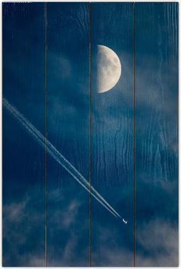 Měsíc a letadlo A - 40x60 - dřevo