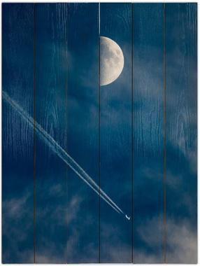 Měsíc a letadlo A - 60x80 - dřevo