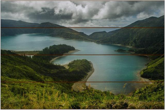 Lagoa do Fogo A - 40x60 - dřevo