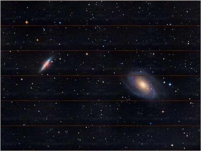 Skupina galaxií M81 B - 60x80 - dřevo
