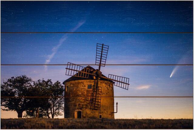 Větrný mlýn a kometa A - 40x60 - dřevo