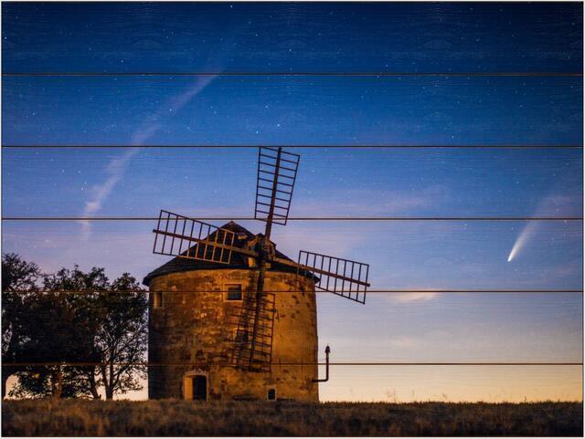 Větrný mlýn a kometa A - 60x80 - dřevo