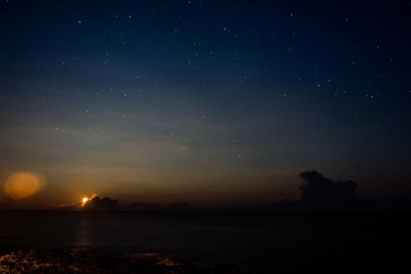 Východ měsíce, ostrov Corvo