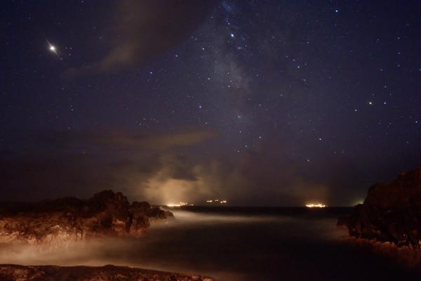 Noční obloha, ostrov Corvo