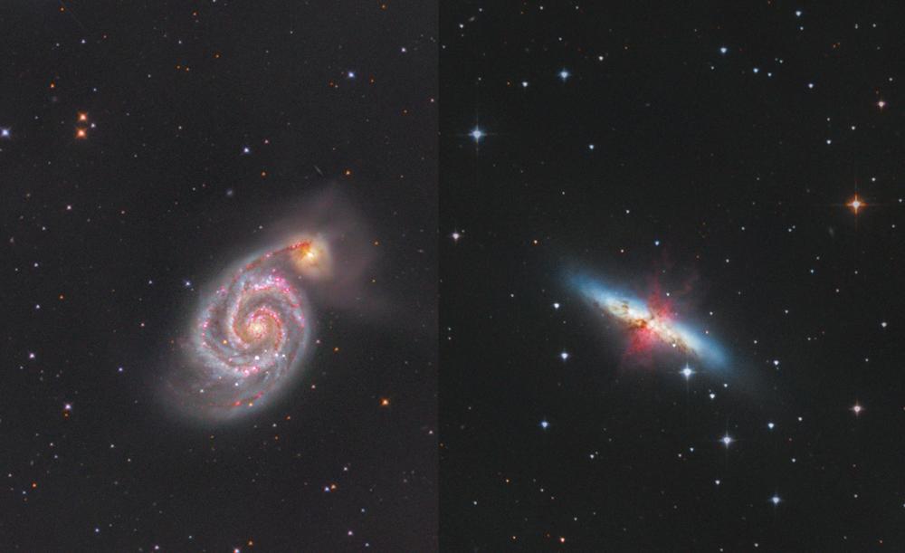 Galaxie M51 a M82